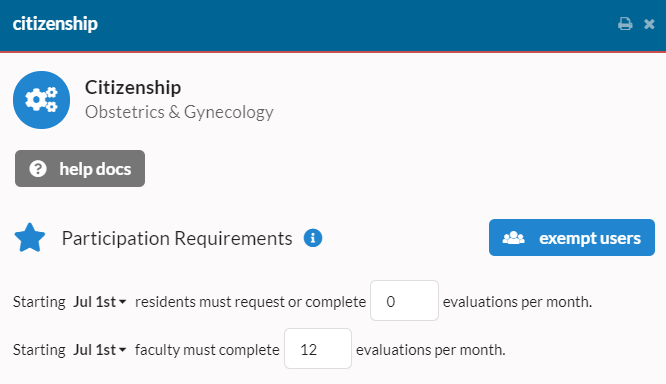 Evaluation settings with participation requirements settings screenshot